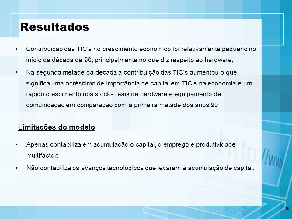 10 Resultados Contribuição das TICs no crescimento económico foi relativamente pequeno no início da década de 90, principalmente no que diz respeito a