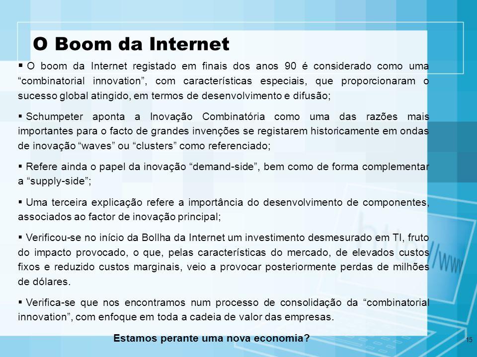 15 O Boom da Internet O boom da Internet registado em finais dos anos 90 é considerado como uma combinatorial innovation, com características especiai