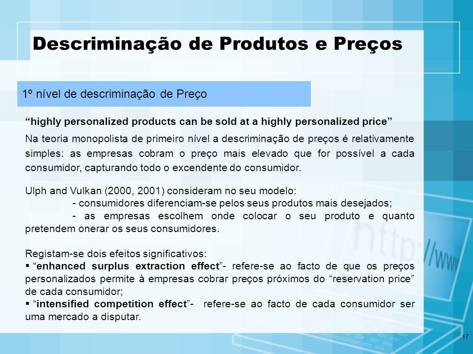 17 Descriminação de Produtos e Preços Na teoria monopolista de primeiro nível a descriminação de preços é relativamente simples: as empresas cobram o