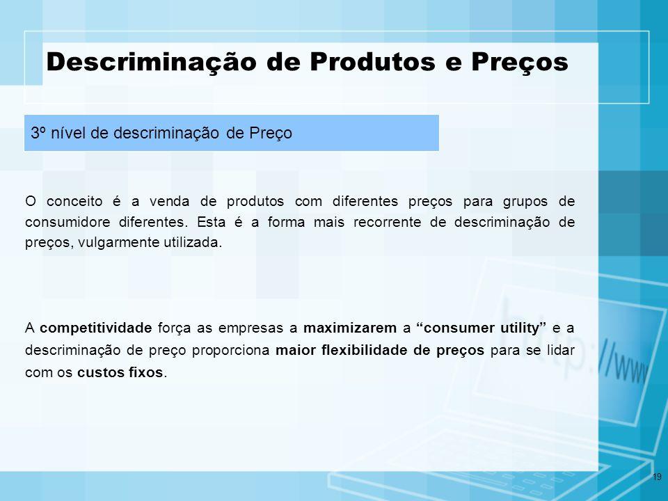 19 Descriminação de Produtos e Preços O conceito é a venda de produtos com diferentes preços para grupos de consumidore diferentes. Esta é a forma mai