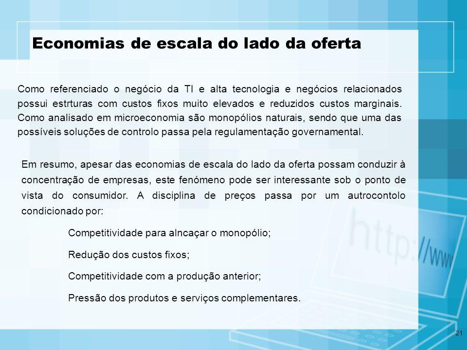 21 Economias de escala do lado da oferta Como referenciado o negócio da TI e alta tecnologia e negócios relacionados possui estrturas com custos fixos