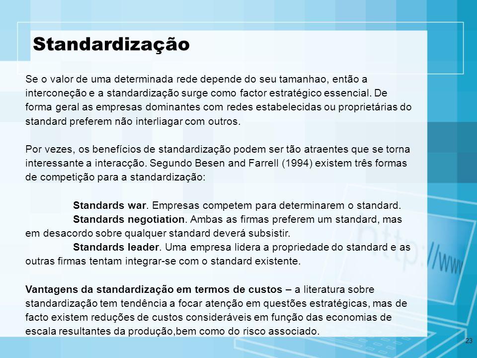 23 Standardização Se o valor de uma determinada rede depende do seu tamanhao, então a interconeção e a standardização surge como factor estratégico es