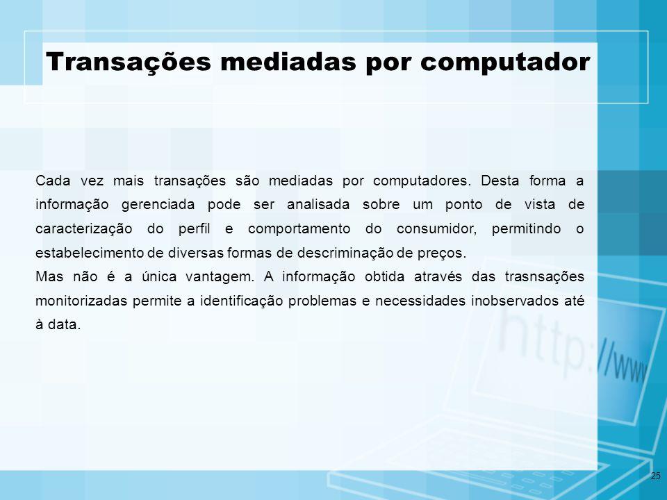 25 Transações mediadas por computador Cada vez mais transações são mediadas por computadores. Desta forma a informação gerenciada pode ser analisada s