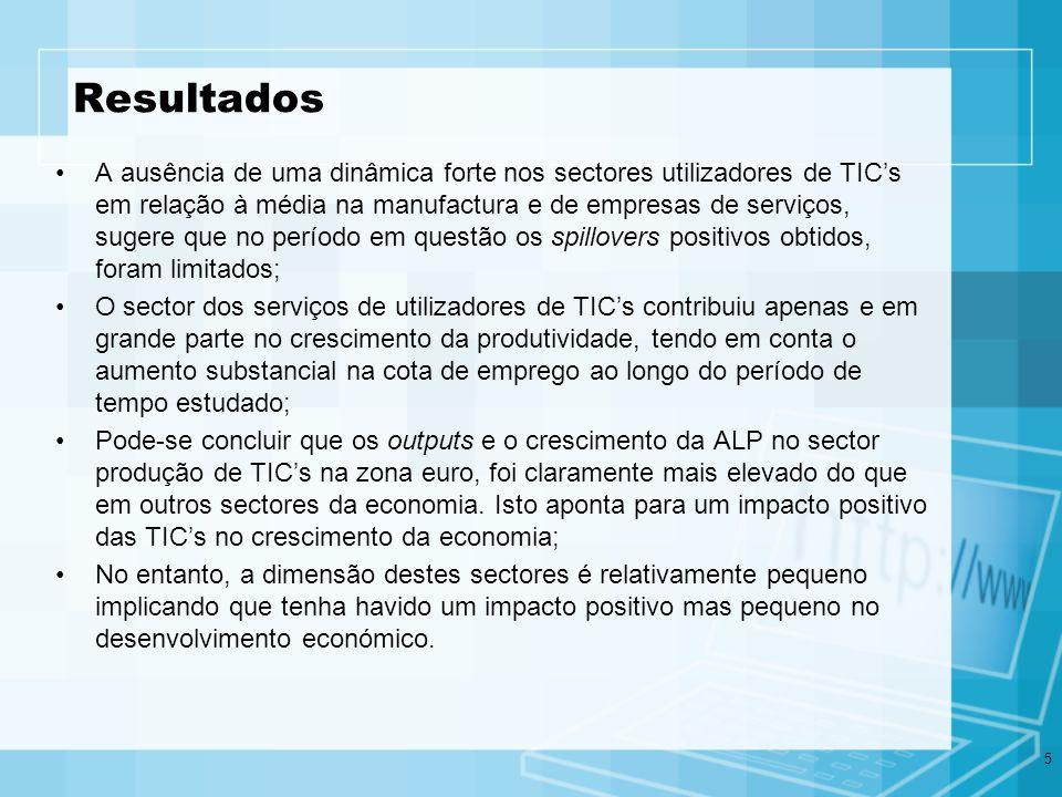 6 Modelo de contribuição do capital em TIC Y = L L + Σi Ki K i + TFP Taxa de crescimento de output Cota de emprego em TICs Taxa de crescimento de emprego em TICs Taxa de crescimento de capital em TICs (stocks) Capital ICT ICT Non - Capital Equip.
