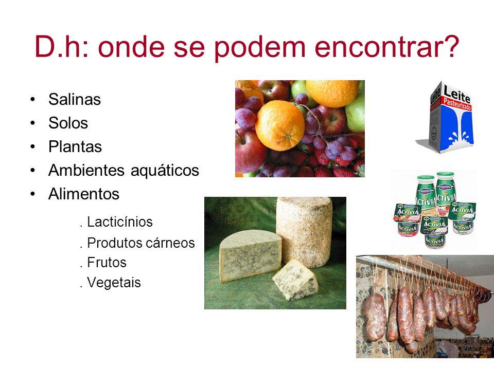D.h: onde se podem encontrar? Salinas Solos Plantas Ambientes aquáticos Alimentos. Lacticínios. Produtos cárneos. Frutos. Vegetais