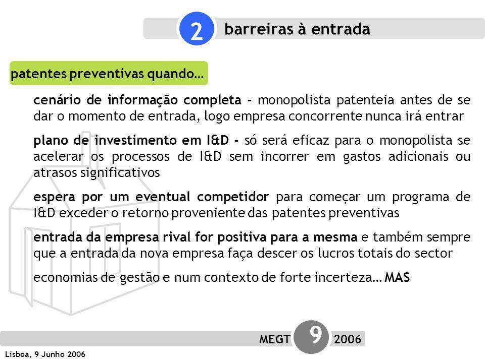 MEGT 9 2006 Lisboa, 9 Junho 2006 patentes preventivas quando… cenário de informação completa - monopolista patenteia antes de se dar o momento de entrada, logo empresa concorrente nunca irá entrar plano de investimento em I&D - só será eficaz para o monopolista se acelerar os processos de I&D sem incorrer em gastos adicionais ou atrasos significativos espera por um eventual competidor para começar um programa de I&D exceder o retorno proveniente das patentes preventivas entrada da empresa rival for positiva para a mesma e também sempre que a entrada da nova empresa faça descer os lucros totais do sector economias de gestão e num contexto de forte incerteza… MAS 2 barreiras à entrada
