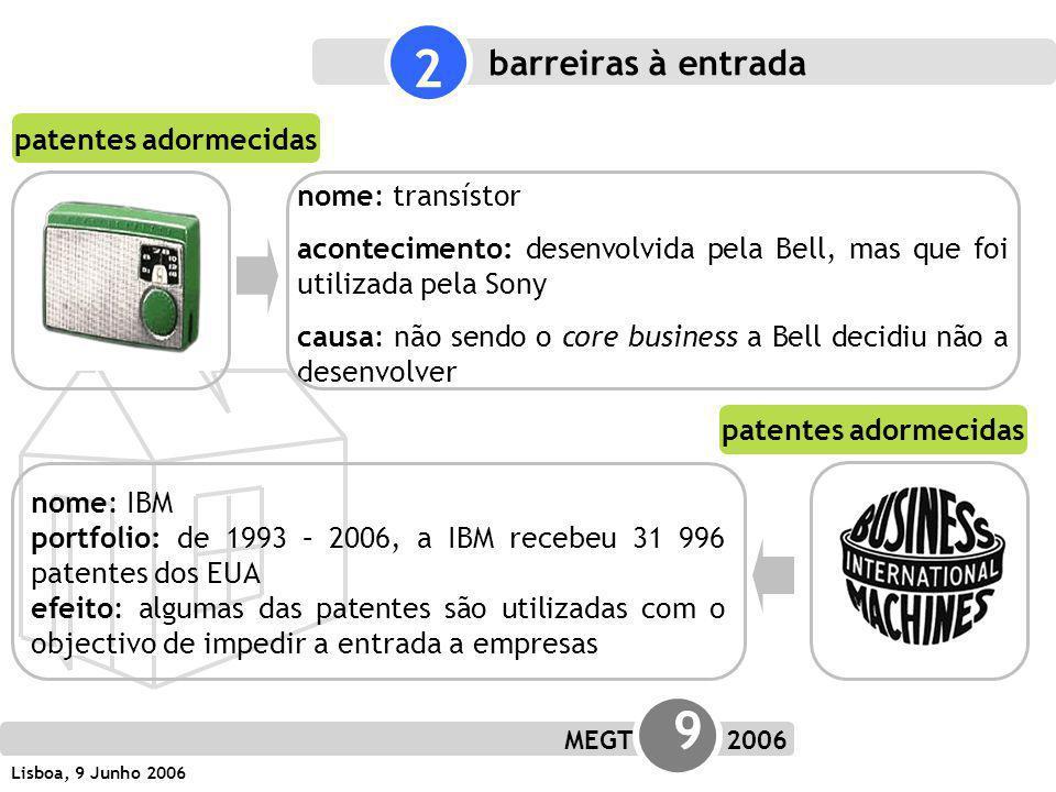 MEGT 9 2006 Lisboa, 9 Junho 2006 nome: transístor acontecimento: desenvolvida pela Bell, mas que foi utilizada pela Sony causa: não sendo o core business a Bell decidiu não a desenvolver patentes adormecidas 2 barreiras à entrada nome: IBM portfolio: de 1993 – 2006, a IBM recebeu 31 996 patentes dos EUA efeito: algumas das patentes são utilizadas com o objectivo de impedir a entrada a empresas