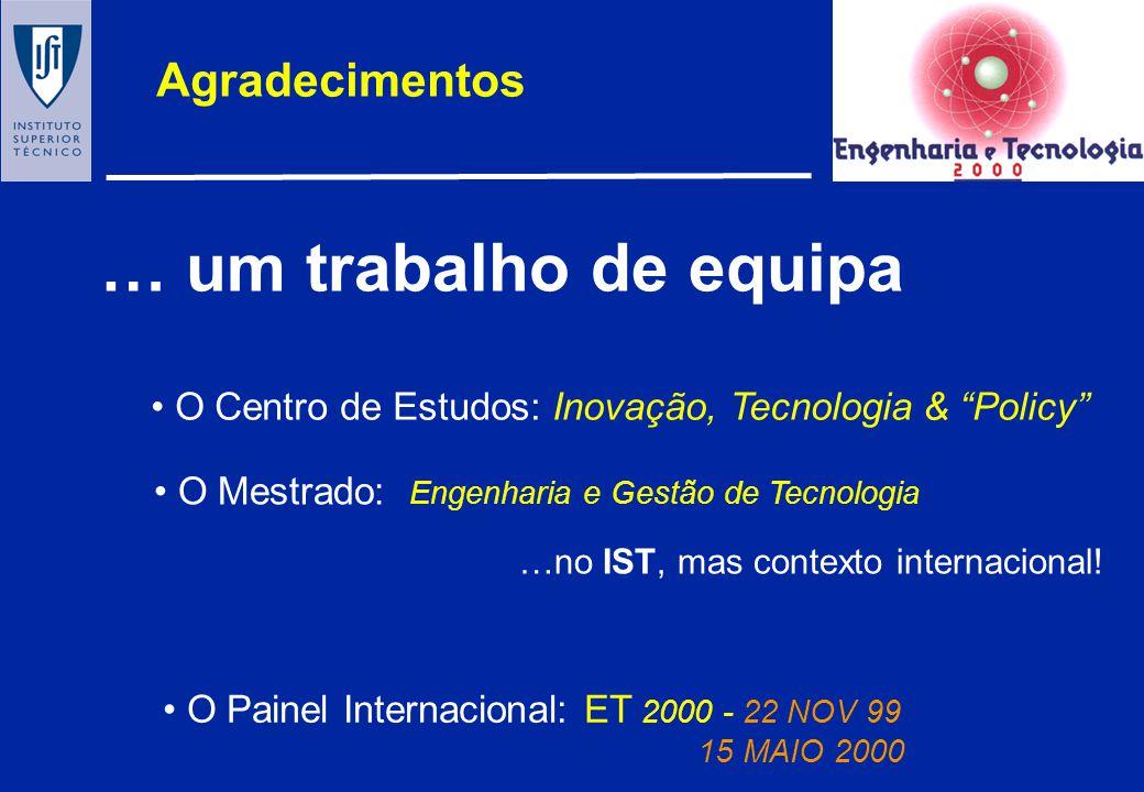 Engenharia e Tecnologia para a INOVAÇÃO em Portugal: um estudo sobre a dinamica do processo de mudança tecnológica Centro de Estudos em Inovação, Tecn