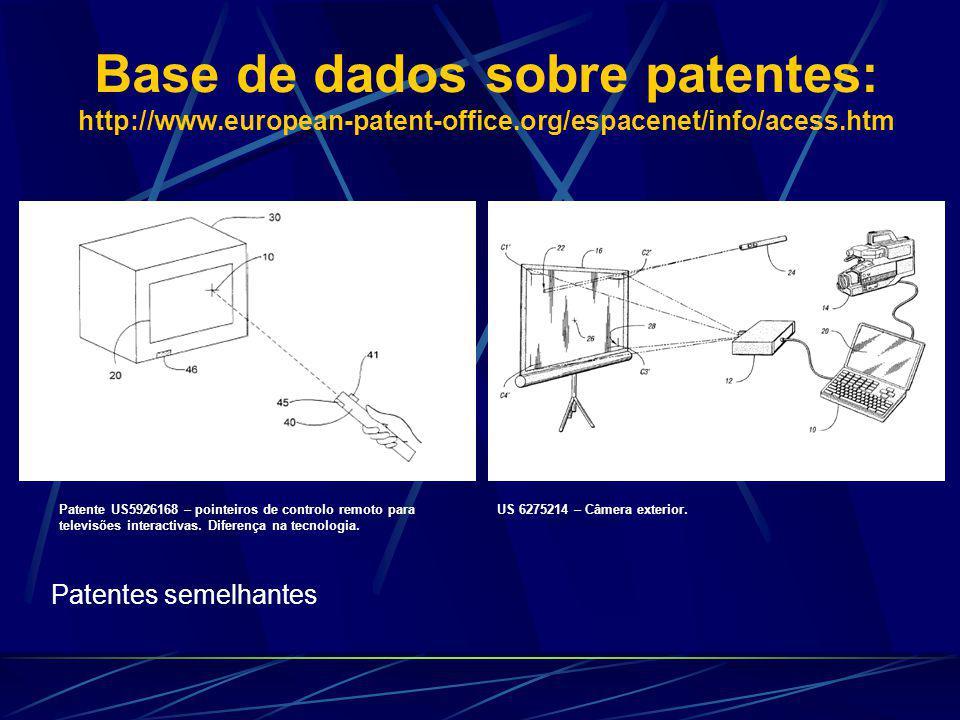 Base de dados sobre patentes: http://www.european-patent-office.org/espacenet/info/acess.htm Patente US5926168 – pointeiros de controlo remoto para televisões interactivas.