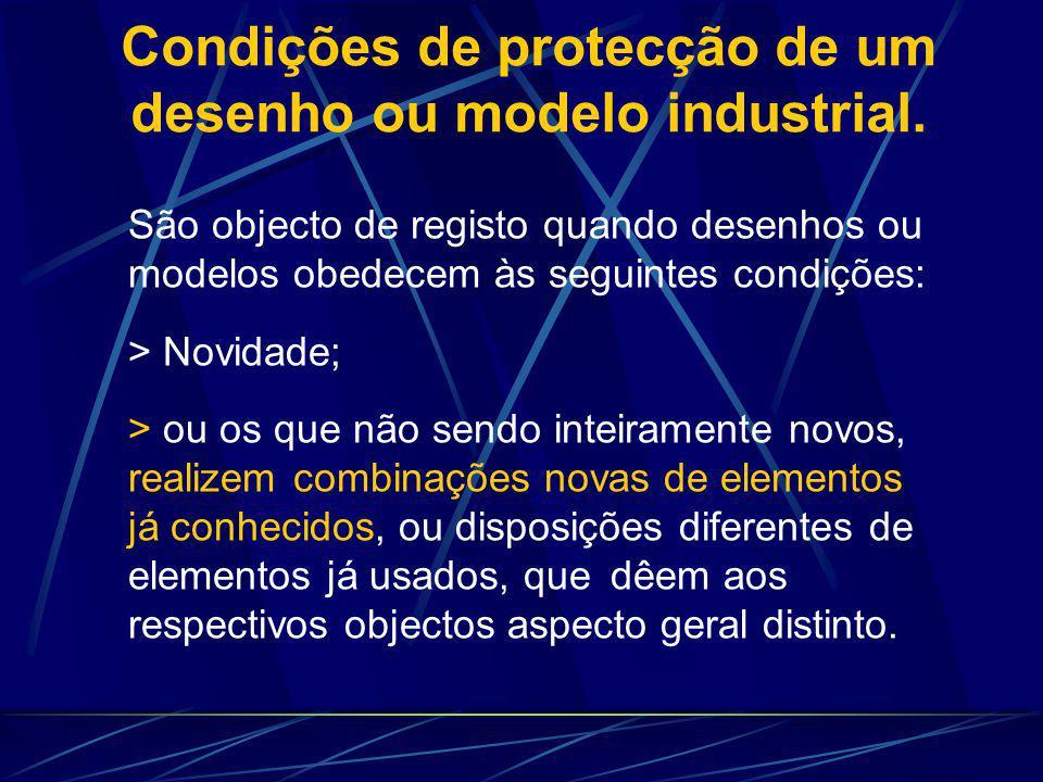 Condições de protecção de um desenho ou modelo industrial. São objecto de registo quando desenhos ou modelos obedecem às seguintes condições: > Novida