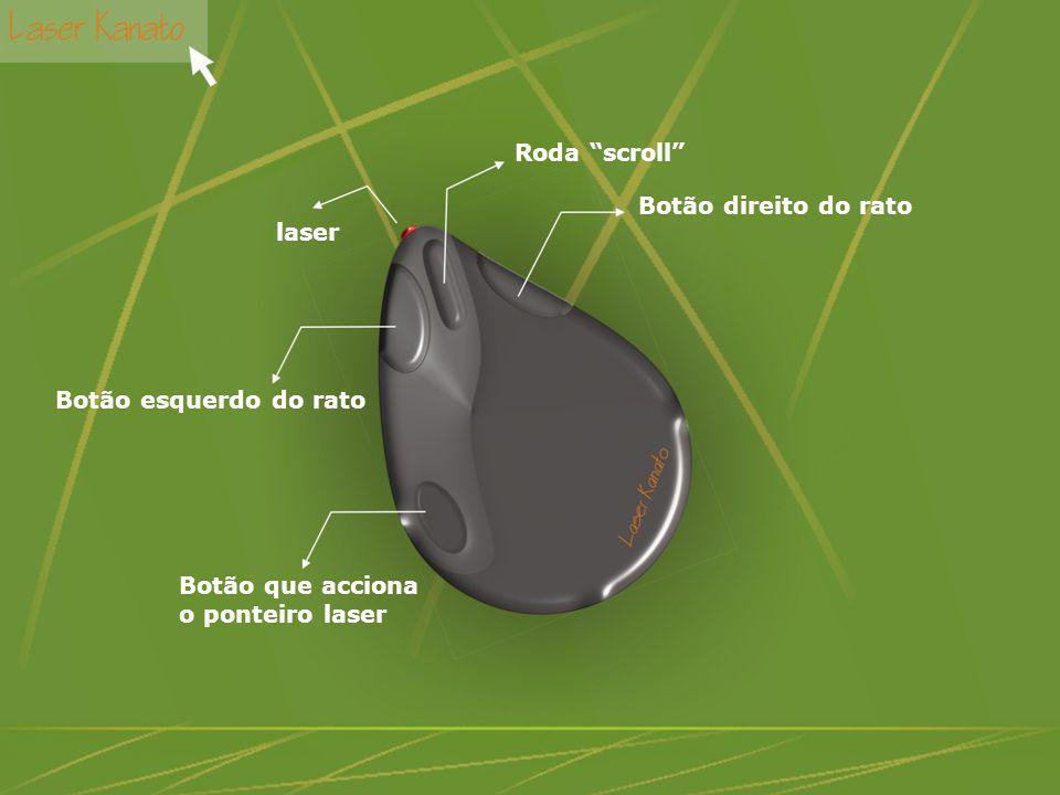 Botão direito do rato Roda scroll laser Botão esquerdo do rato Botão que acciona o ponteiro laser