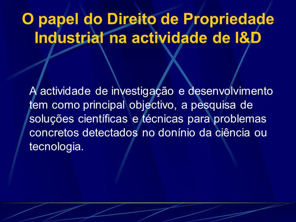 O papel do Direito de Propriedade Industrial na actividade de I&D A actividade de investigação e desenvolvimento tem como principal objectivo, a pesquisa de soluções científicas e técnicas para problemas concretos detectados no donínio da ciência ou tecnologia.