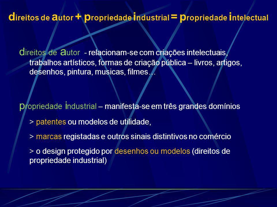 d ireitos de a utor + p ropriedade i ndustrial = p ropriedade i ntelectual d ireitos de a utor - relacionam-se com criações intelectuais, trabalhos ar