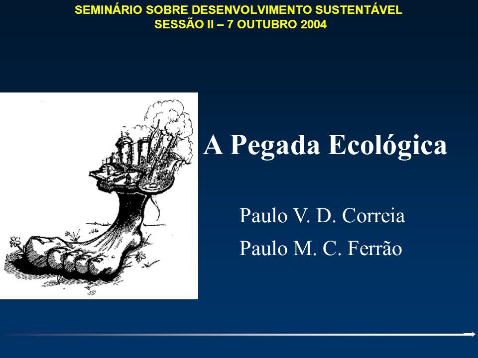 A Pegada Ecológica Paulo V. D. Correia Paulo M. C. Ferrão SEMINÁRIO SOBRE DESENVOLVIMENTO SUSTENTÁVEL SESSÃO II – 7 OUTUBRO 2004