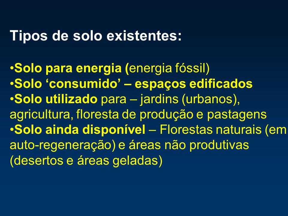 Tipos de solo existentes: Solo para energia (energia fóssil) Solo consumido – espaços edificados Solo utilizado para – jardins (urbanos), agricultura,