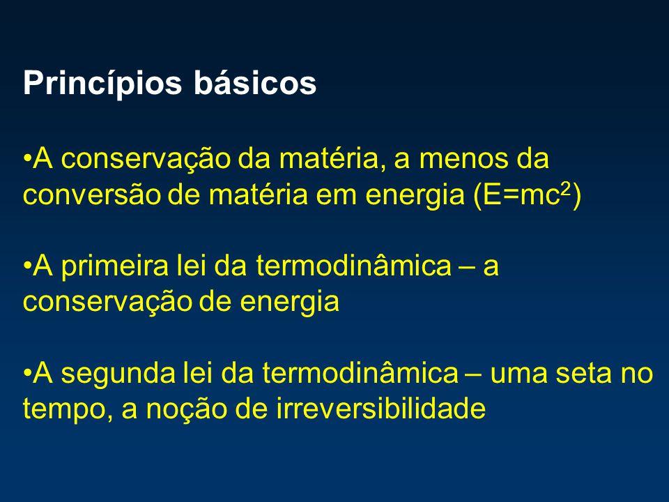 Princípios básicos A conservação da matéria, a menos da conversão de matéria em energia (E=mc 2 ) A primeira lei da termodinâmica – a conservação de e