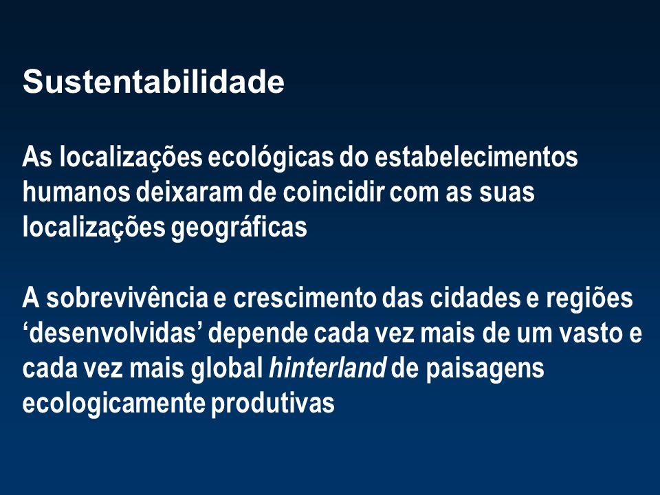 Sustentabilidade As localizações ecológicas do estabelecimentos humanos deixaram de coincidir com as suas localizações geográficas A sobrevivência e c