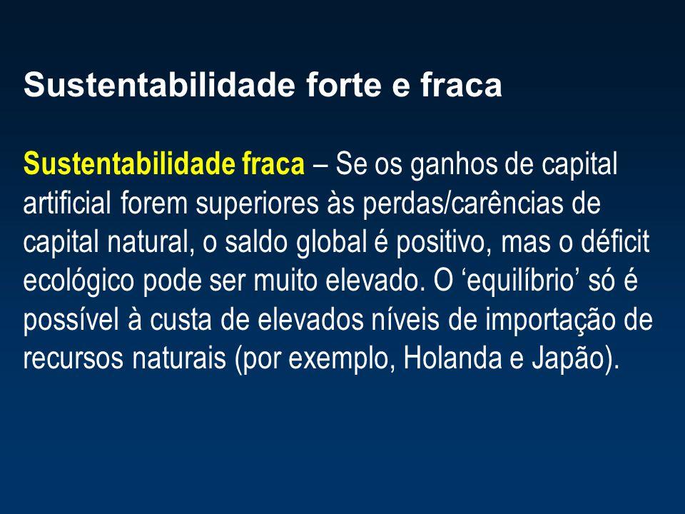 Sustentabilidade forte e fraca Sustentabilidade fraca – Se os ganhos de capital artificial forem superiores às perdas/carências de capital natural, o