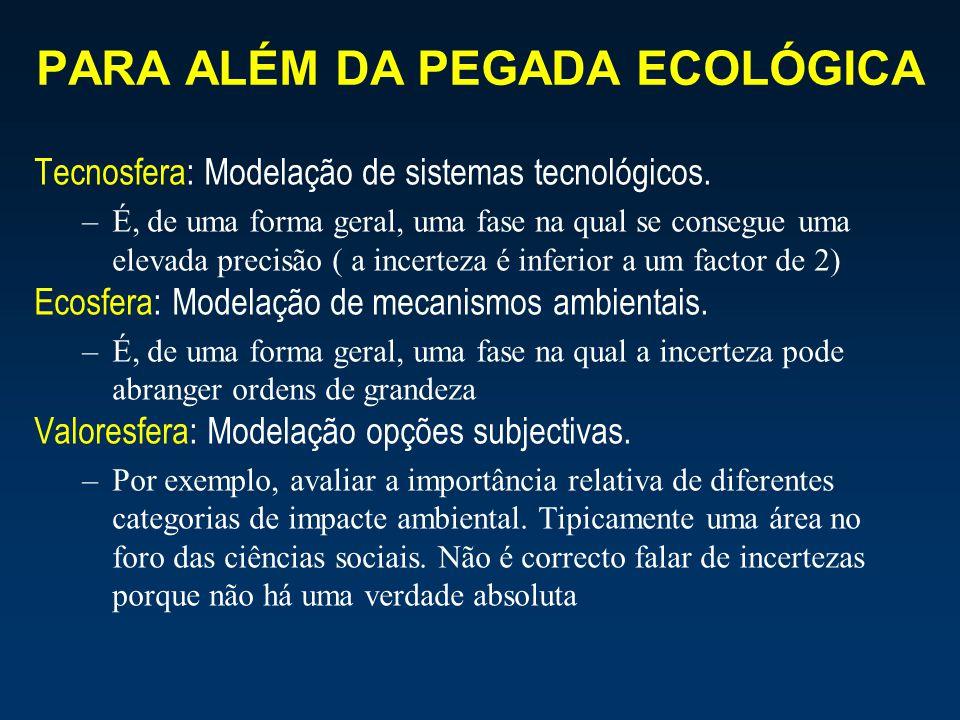 PARA ALÉM DA PEGADA ECOLÓGICA Tecnosfera: Modelação de sistemas tecnológicos. –É, de uma forma geral, uma fase na qual se consegue uma elevada precisã