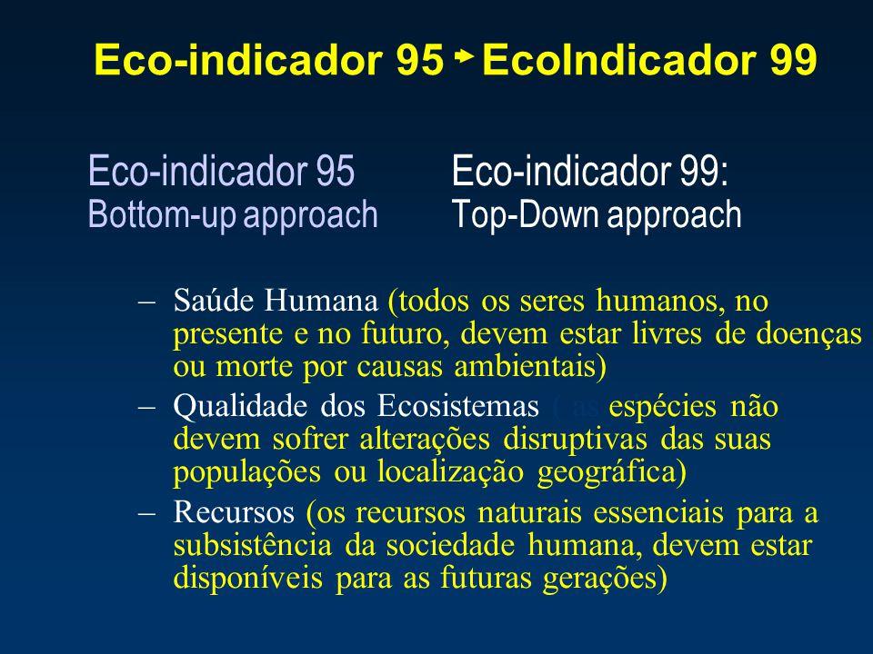 Eco-indicador 95 EcoIndicador 99 Eco-indicador 95 Eco-indicador 99: Bottom-up approach Top-Down approach –Saúde Humana (todos os seres humanos, no pre