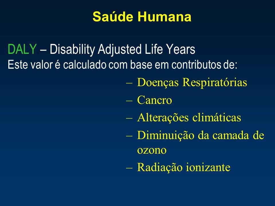 Saúde Humana DALY – Disability Adjusted Life Years Este valor é calculado com base em contributos de: –Doenças Respiratórias –Cancro –Alterações climá