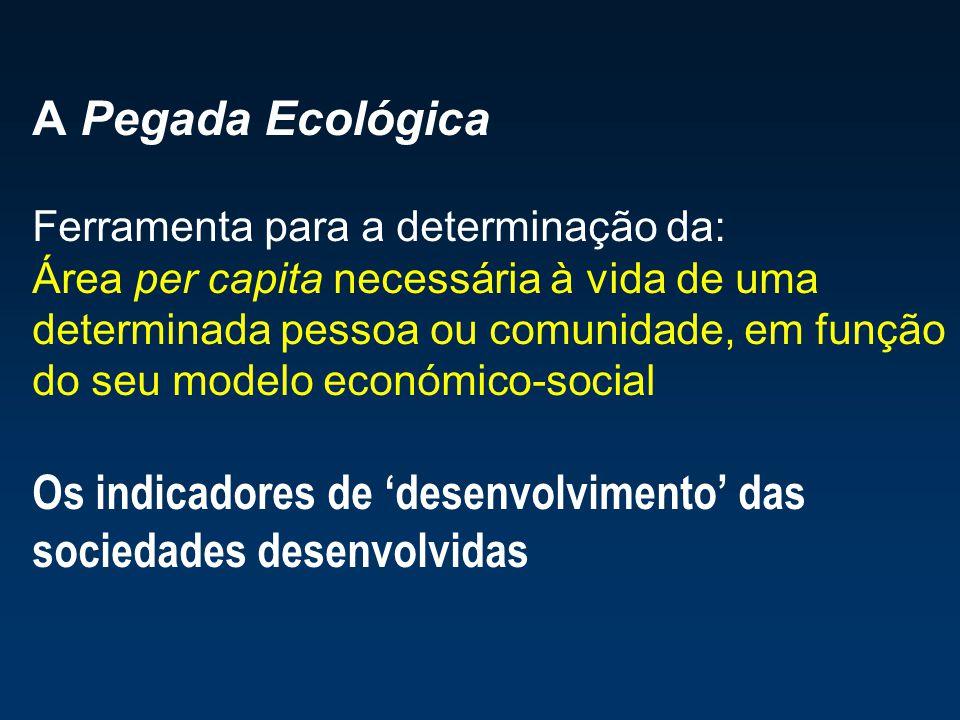 A Pegada Ecológica Ferramenta para a determinação da: Área per capita necessária à vida de uma determinada pessoa ou comunidade, em função do seu mode