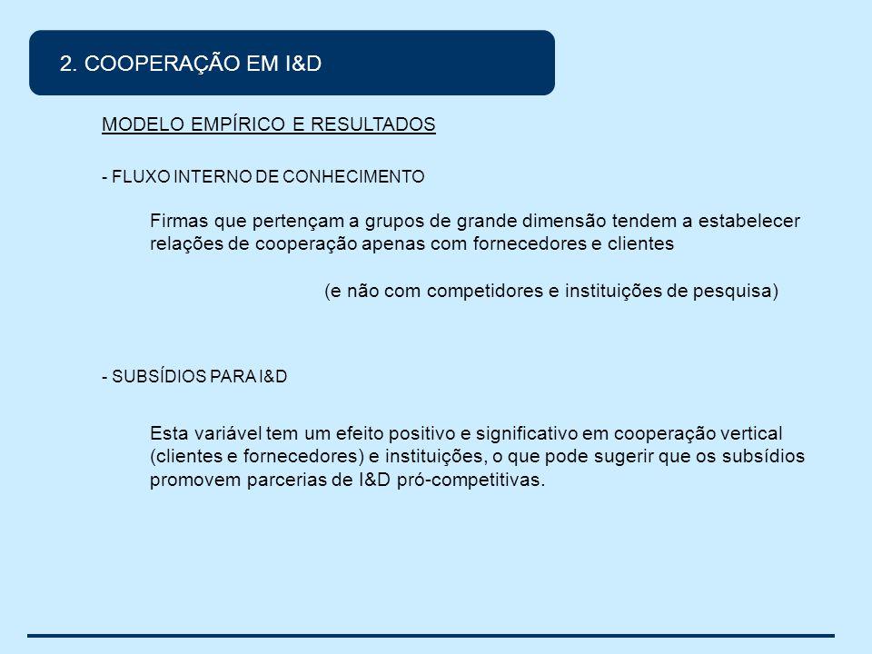 2. COOPERAÇÃO EM I&D MODELO EMPÍRICO E RESULTADOS - FLUXO INTERNO DE CONHECIMENTO Firmas que pertençam a grupos de grande dimensão tendem a estabelece