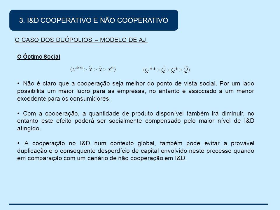 O Óptimo Social Não é claro que a cooperação seja melhor do ponto de vista social.