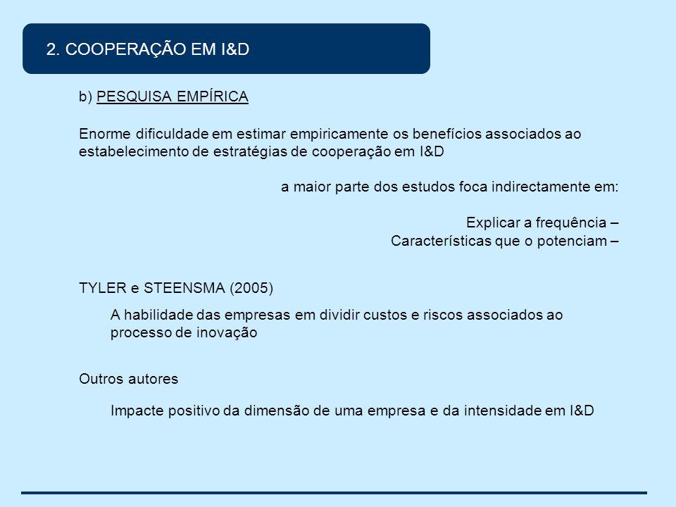 2. COOPERAÇÃO EM I&D b) PESQUISA EMPÍRICA Enorme dificuldade em estimar empiricamente os benefícios associados ao estabelecimento de estratégias de co
