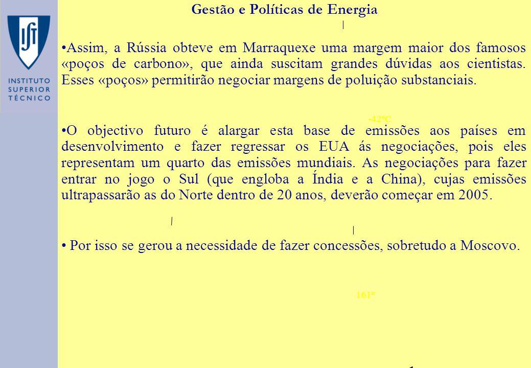 -42ºC 161º Gestão e Políticas de Energia Assim, a Rússia obteve em Marraquexe uma margem maior dos famosos «poços de carbono», que ainda suscitam gran