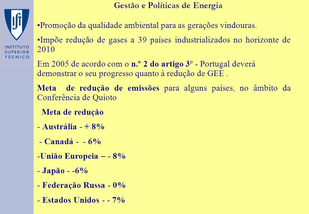 Gestão e Políticas de Energia Promoção da qualidade ambiental para as gerações vindouras. Impõe redução de gases a 39 países industrializados no horiz