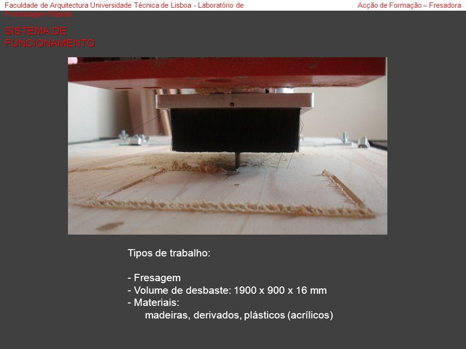 Faculdade de Arquitectura Universidade Técnica de Lisboa - Laboratório de Prototipagem Rápida Acção de Formação – Fresadora SISTEMA DE FUNCIONAMENTO Tipos de trabalho: - Fresagem - Volume de desbaste: 1900 x 900 x 16 mm - Materiais: madeiras, derivados, plásticos (acrílicos)