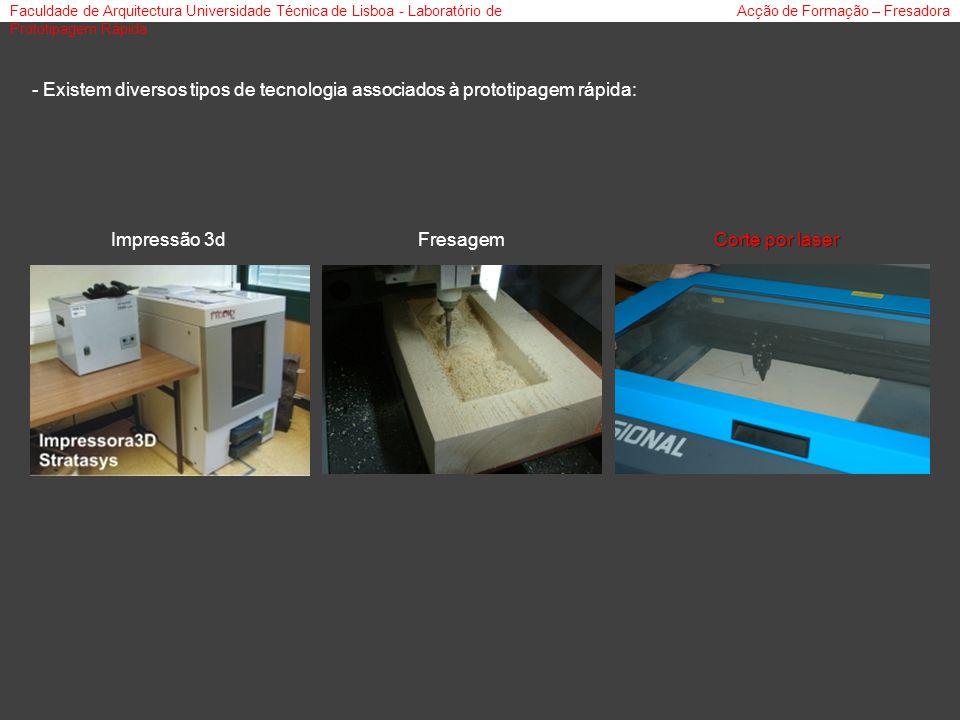 Faculdade de Arquitectura Universidade Técnica de Lisboa - Laboratório de Prototipagem Rápida Acção de Formação – Fresadora - Existem diversos tipos de tecnologia associados à prototipagem rápida: Impressão 3dFresagem Corte por laser