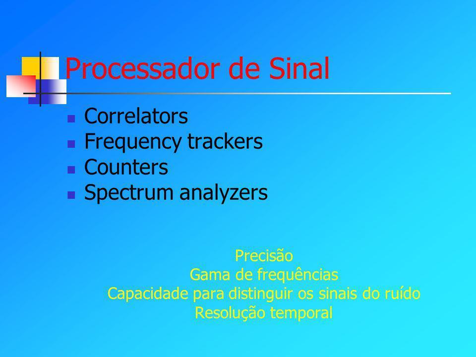 Processador de Sinal Correlators Frequency trackers Counters Spectrum analyzers Precisão Gama de frequências Capacidade para distinguir os sinais do ruído Resolução temporal