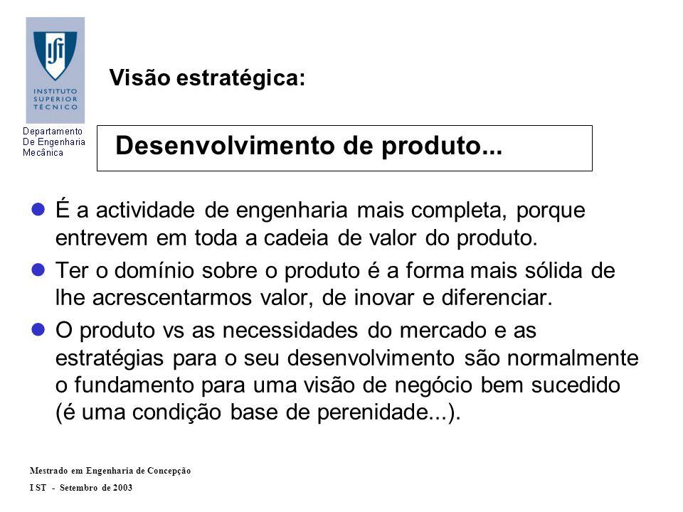 Mestrado em Engenharia de Concepção I ST - Setembro de 2003 Objectivos : lEfectuar um projecto com uma forte componente de desenvolvimento de produto.