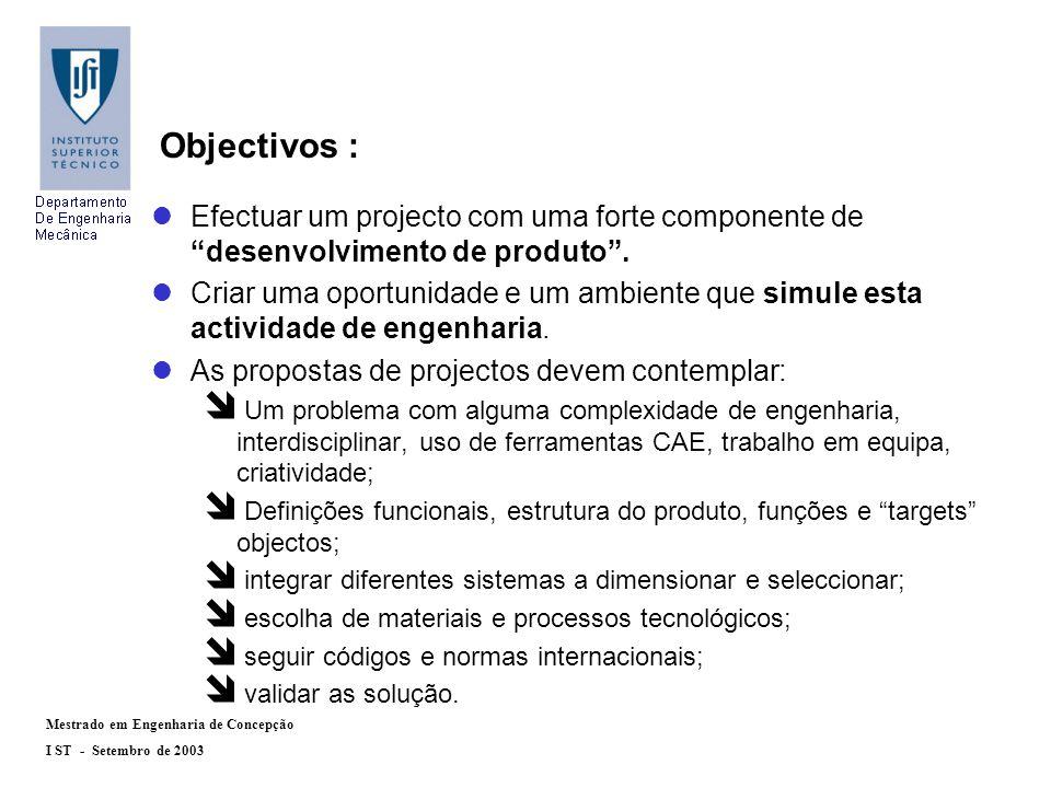 Mestrado em Engenharia de Concepção I ST - Setembro de 2003 Processo de engenharia: Definições funcionais Configurações Especificações Desenhos Cálculos de verificação RAMS, FMEA e LCC Cadeia de fornecedores Gestão de interfaces Protótipo e maquetas Testes de validação (tipo) ProcessoProcesso