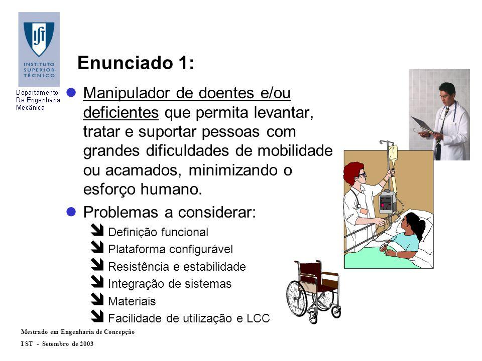 Mestrado em Engenharia de Concepção I ST - Setembro de 2003 Enunciado 1: lManipulador de doentes e/ou deficientes que permita levantar, tratar e suportar pessoas com grandes dificuldades de mobilidade ou acamados, minimizando o esforço humano.