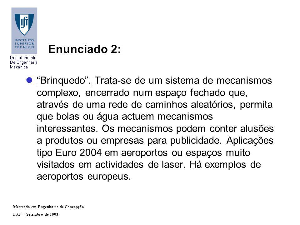 Mestrado em Engenharia de Concepção I ST - Setembro de 2003 Enunciado 2: lBrinquedo.