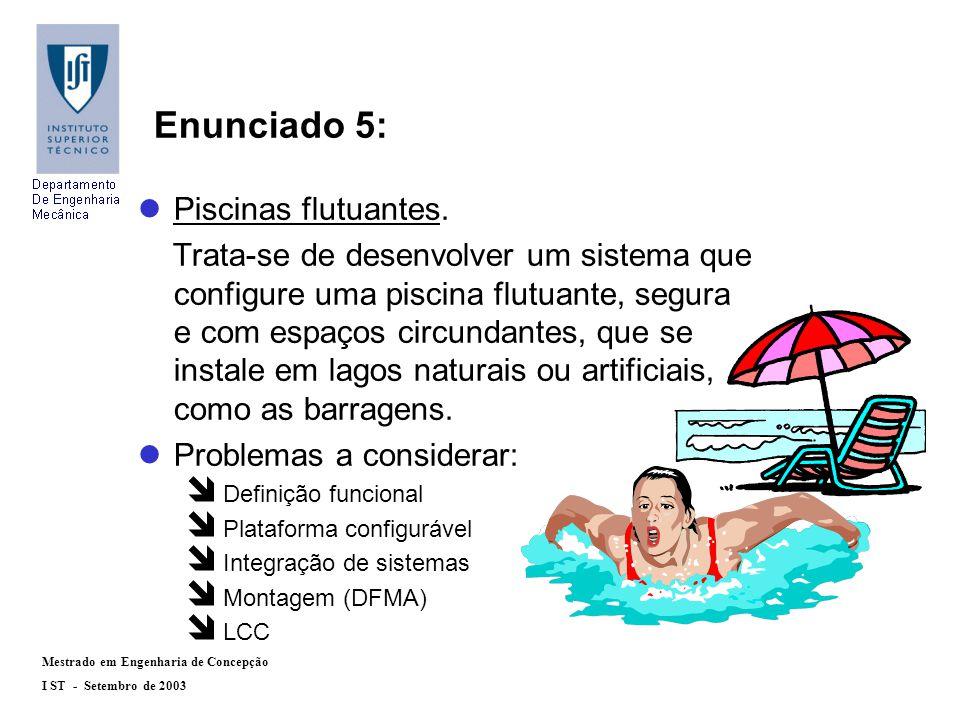 Mestrado em Engenharia de Concepção I ST - Setembro de 2003 lPiscinas flutuantes.