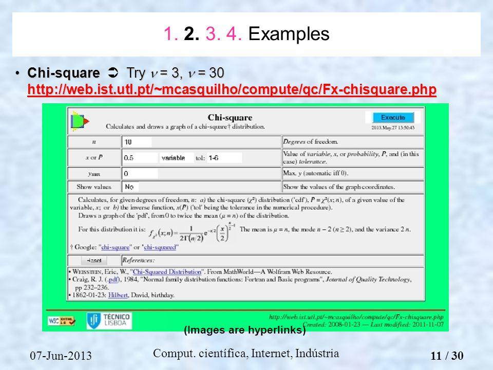 07-Jun-2013 Comput. científica, Internet, Indústria Chi-square Try = 3, = 30 http://web.ist.utl.pt/~mcasquilho/compute/qc/Fx-chisquare.phpChi-square T