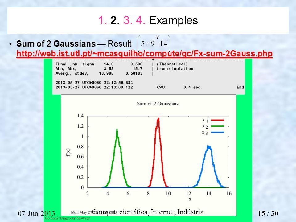 07-Jun-2013 Comput. científica, Internet, Indústria Sum of 2 Gaussians Result http://web.ist.utl.pt/~mcasquilho/compute/qc/Fx-sum-2Gauss.phpSum of 2 G