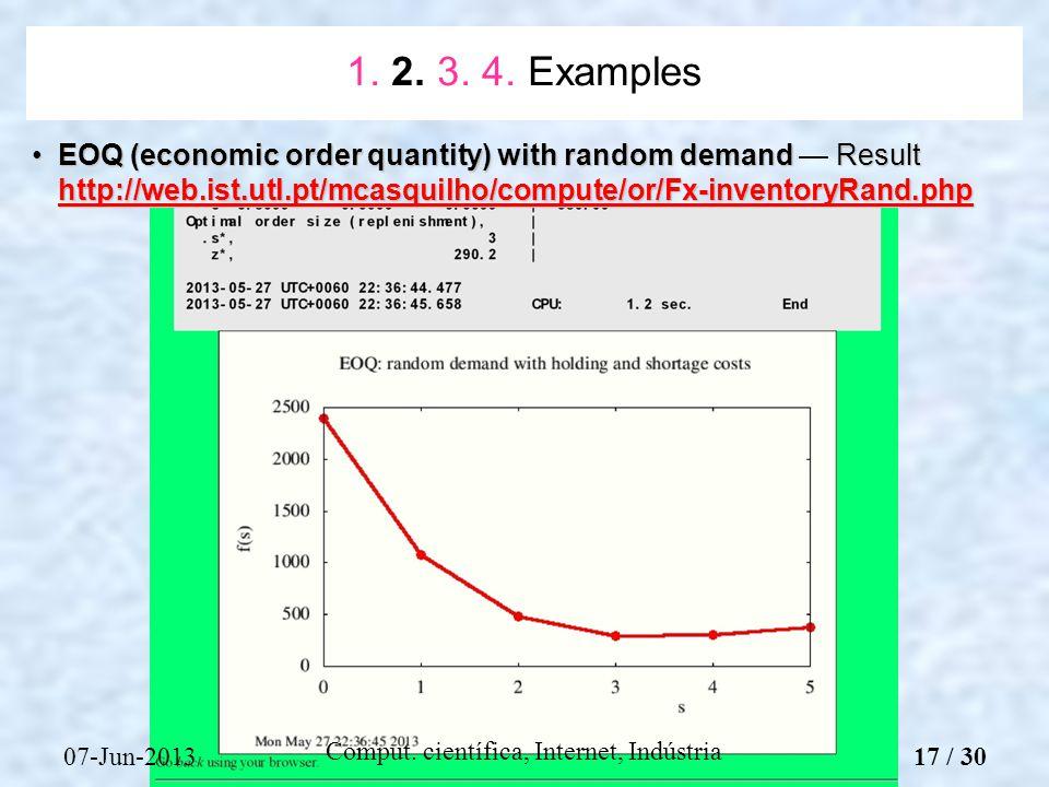 07-Jun-2013 Comput. científica, Internet, Indústria EOQ (economic order quantity) with random demand Result http://web.ist.utl.pt/mcasquilho/compute/o