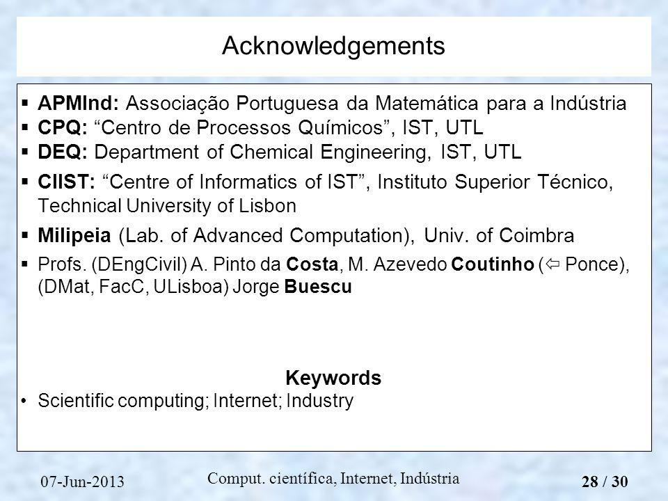07-Jun-2013 Comput. científica, Internet, Indústria APMInd: Associação Portuguesa da Matemática para a Indústria CPQ: Centro de Processos Químicos, IS