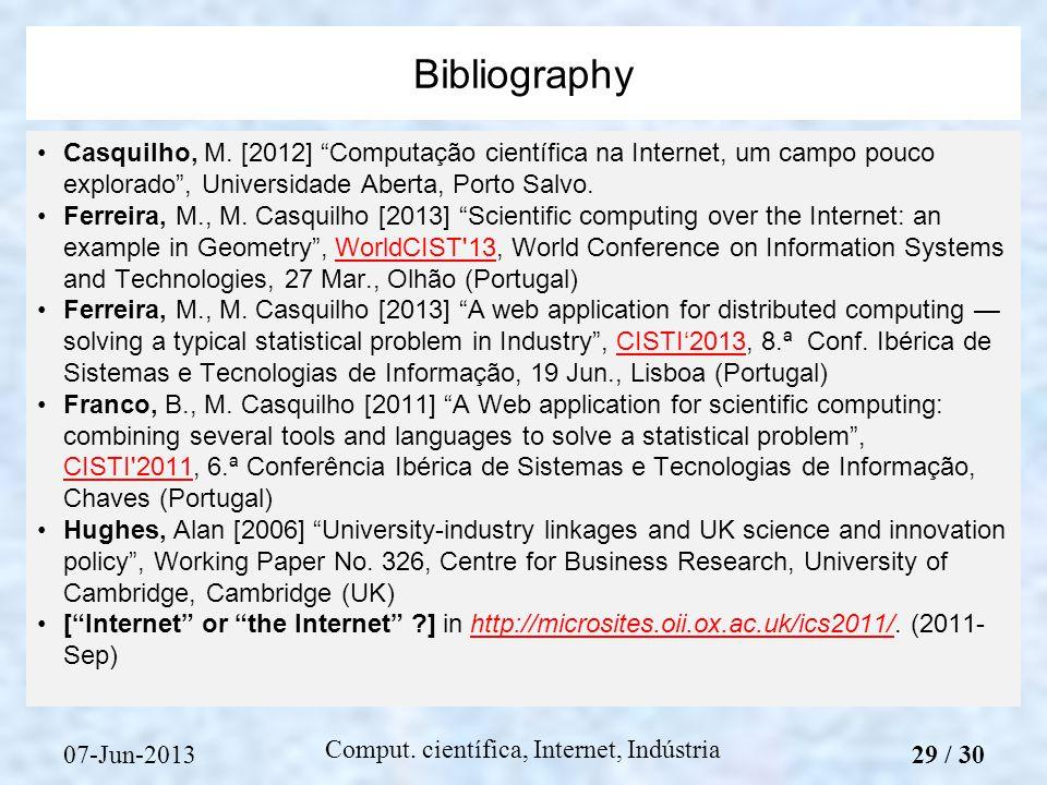 07-Jun-2013 Comput. científica, Internet, Indústria Casquilho, M.