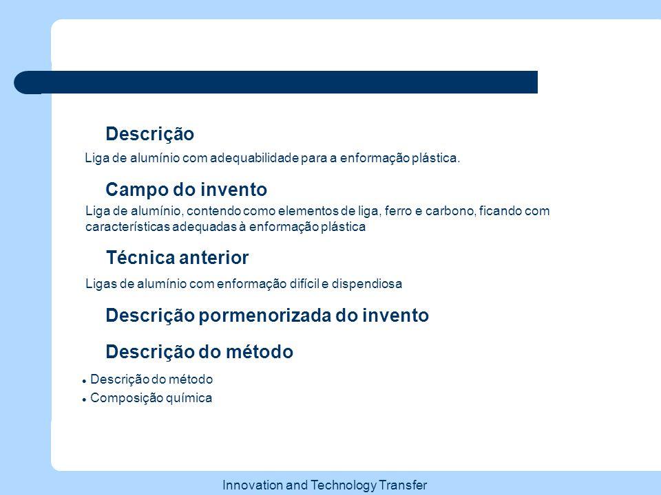 Innovation and Technology Transfer Técnica anterior Descrição Liga de alumínio com adequabilidade para a enformação plástica.