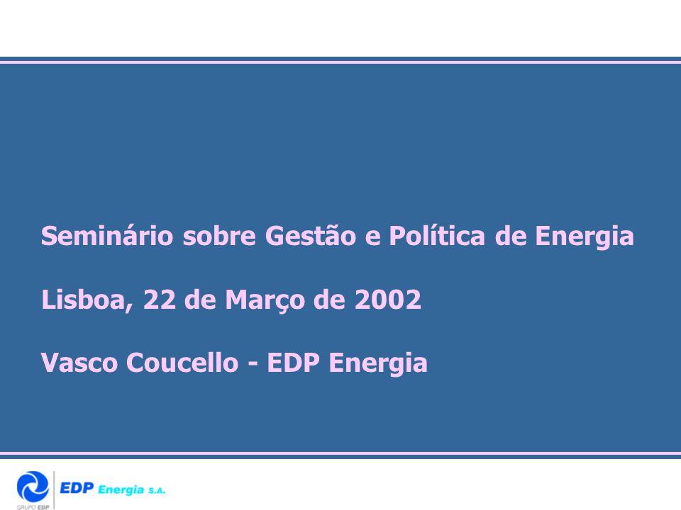 Seminário sobre Gestão e Política de Energia Lisboa, 22 de Março de 2002 Vasco Coucello - EDP Energia