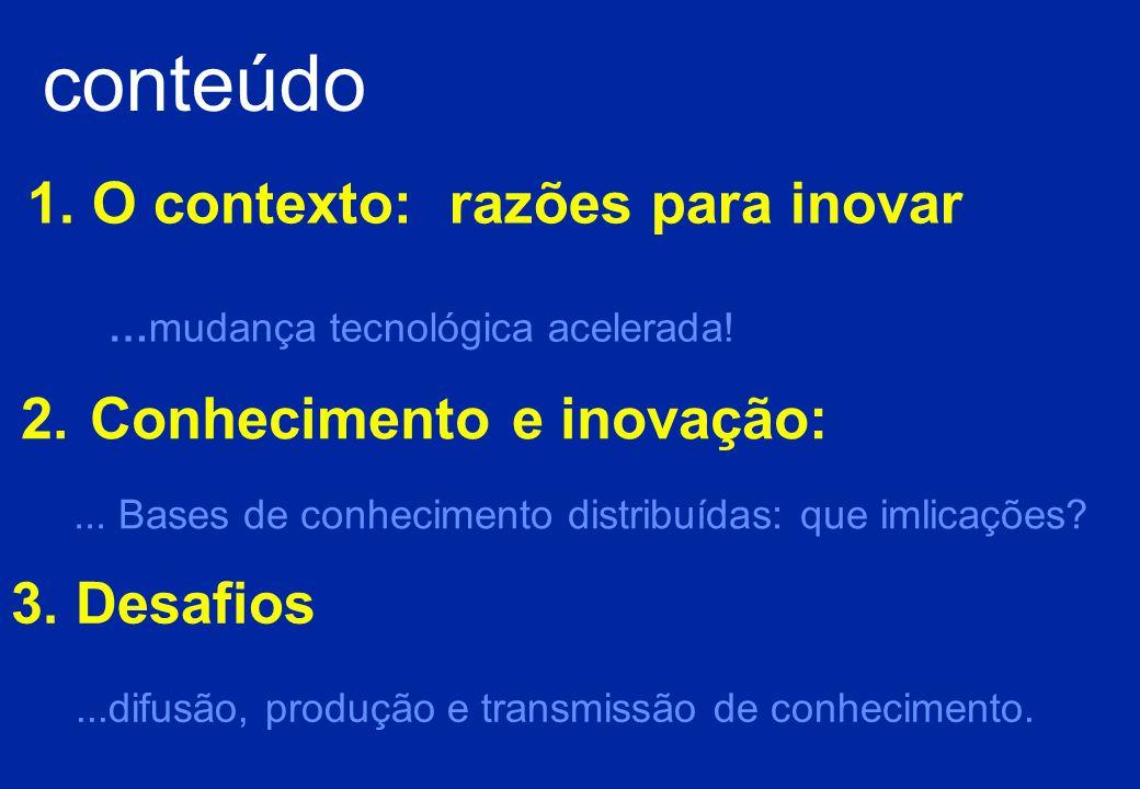 O argumento: Num contexto de acelerada mudança tecnológica, crescentemente associado a bases de conhecimento distribuídas, a capacidade para inovar depende do sucesso de redes de aprendizagem, nomeadamente de âmbito internacional: através da colaboração institucional, desenvolvendo a base científica, diversificando parcerias para a inovação,favorecendo a concepção de produtos e sistemas de maior valor acrescentado A inovação compreende o modo como as empresas e os empreendedores criam valor explorando a mudança