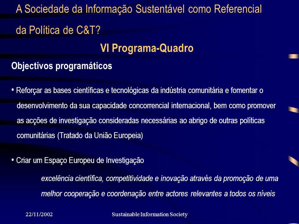 22/11/2002Sustainable Information Society VI Programa-Quadro Objectivos programáticos Reforçar as bases científicas e tecnológicas da indústria comunitária e fomentar o desenvolvimento da sua capacidade concorrencial internacional, bem como promover as acções de investigação consideradas necessárias ao abrigo de outras políticas comunitárias (Tratado da União Europeia) Criar um Espaço Europeu de Investigação excelência científica, competitividade e inovação através da promoção de uma melhor cooperação e coordenação entre actoresrelevantes a todos os níveis A Sociedade da Informação Sustentável como Referencial da Política de C&T?
