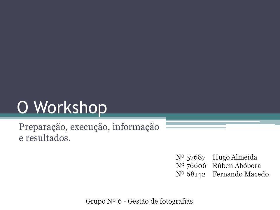 O Workshop Preparação, execução, informação e resultados.