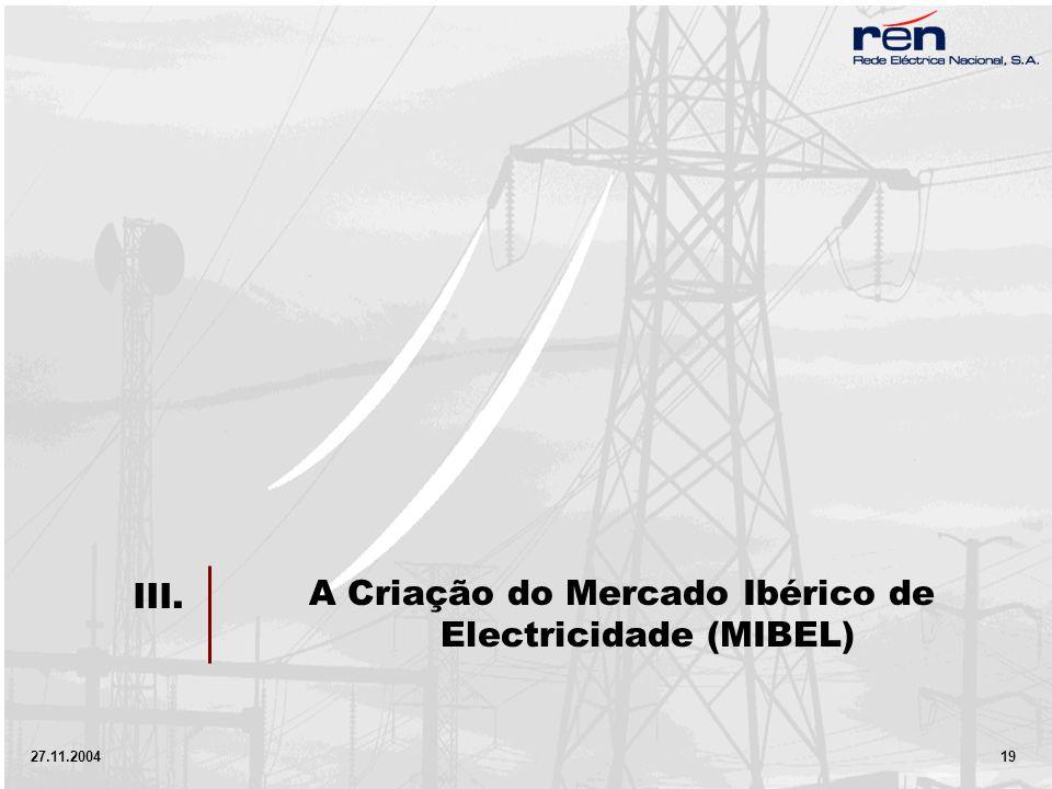 27.11.2004 19 A Criação do Mercado Ibérico de Electricidade (MIBEL) III.